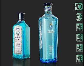 Star of Bombay English Estate Gin bottles set 3D model 1
