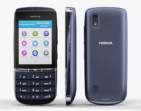 Nokia Asha 300 Dark Blue 3D asset game-ready