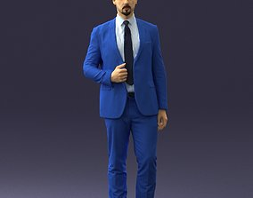 Man in a blue business suit 0298 3D Print Ready