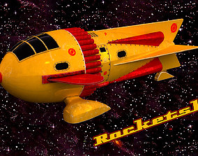 3D asset VR / AR ready Rocketship 50s style Vintage