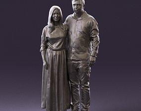 001045 man in tshirt jeans blonde woman in dress 3D print