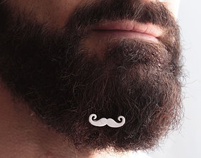 3D print model Mustache for beard - front wearing