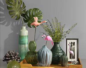 3D model Decorative set tropical vases and flying flamingo