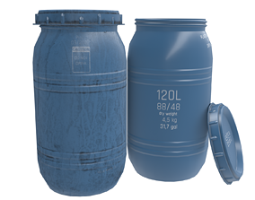 Game-ready Plastic Barrel - clean and dirty - 3D model