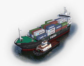 Cargo Ship and Tugboat 3D model