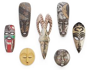 Wooden African Masks Sculpture 3D model
