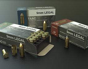 9mm Pistol Ammunition Pack 3D asset