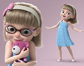 Cartoon Girl Rigged 3D model