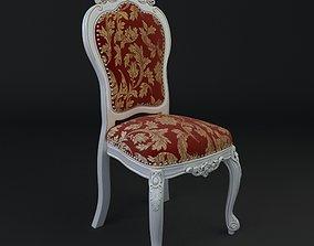 3D model Antique Chair Brocade Armless