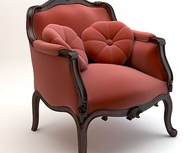 Red baroque armchair with pillows 3D