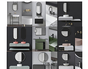 Washbasins Furniture 3d model collection 10 pieces