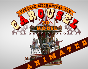 3D model animated Carousel Vintage Mechanical Toy