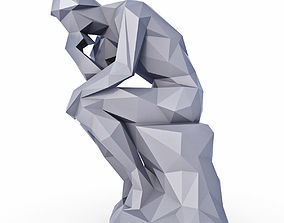 3D asset Thinker Sculpture Low Poly
