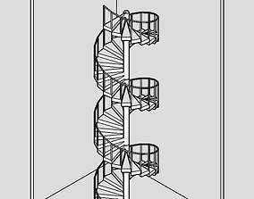 3D Continuous spiral staircases for interiors and
