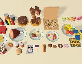 Cartoon Food Pack 3D asset