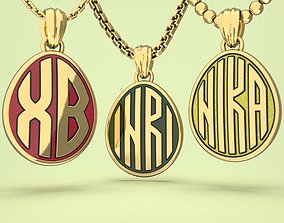 Egg pendants with INRI and XB letters 3D print model