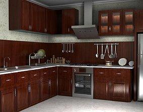 wooden kitchen 3D asset