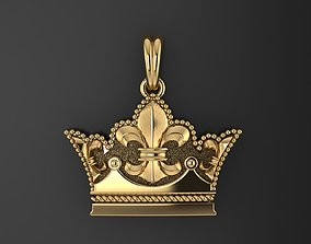 jewelry 3D printable model Crown Pendant