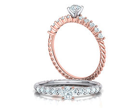 3D print model Rope Diamond Engagement ring with 4mm stone