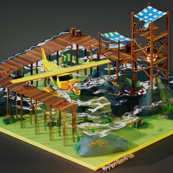 Stylized Seaplane And Settlement