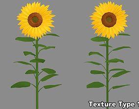 3D obj Cartoon-Styles Sunflower