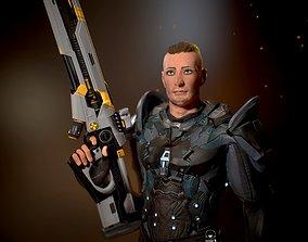 sci Ranger with plasma gun High poly model