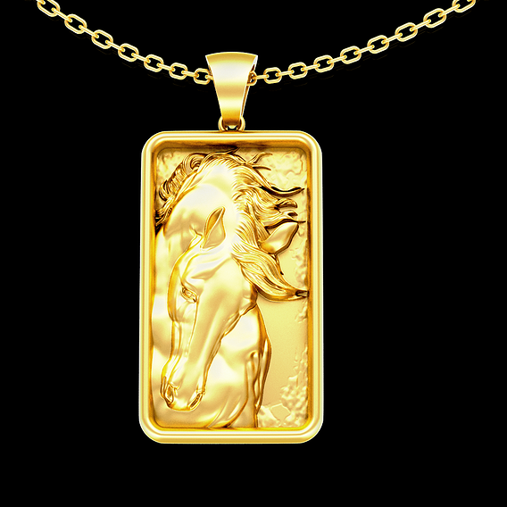 Noble Horse Rectangle pendant jewelry gold necklace medallion 3D print model