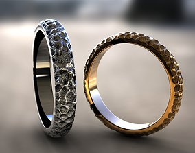 wedding ring with a pattern Damascus 3D print model