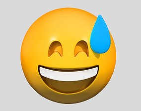 3D Emoji Grinning Face with Sweat
