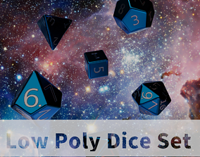 Blue Plastic Dice Set 3D asset
