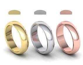 Dshaped wedding band 5mm wide 3D printable model