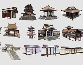 3D asset PBR Asian Buildings Collection