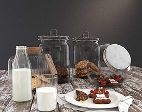 3D model Photo-realisitc Cookie Jars and Milk Bottle