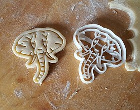 Elephant cookie cutter 3D print model kitchen