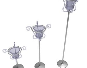 3D model Three Standing Candle Holders