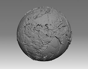 World map 3D - relief topographic 1in50000000