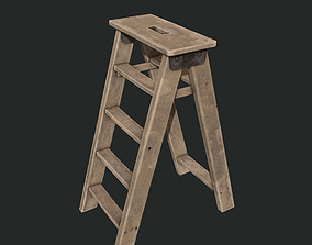 3D asset Game Ready - Wooden Ladder
