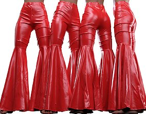 Vinyl Disco Flared Pants 3D
