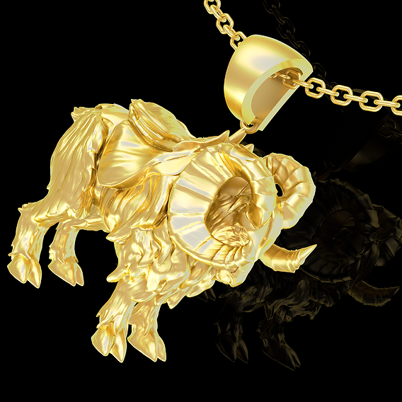 War Ram Pendant Jewelry Gold 3D print model
