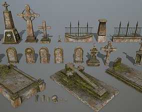 3D asset game-ready tombstone set halloween