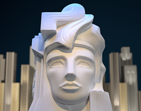 3D print model Art Deco style bust sculpture Pacifica