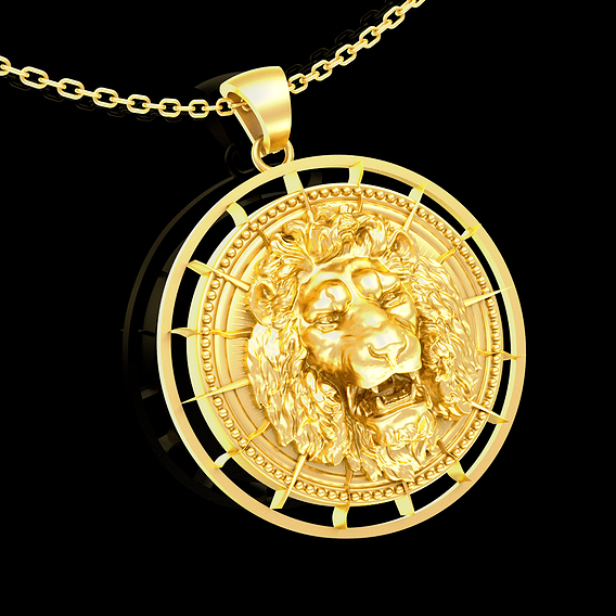 Angry Lion pendant jewelry gold necklace medallion 3D print model