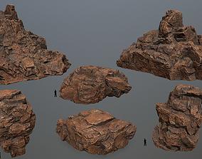 desert rocks set 3D model realtime