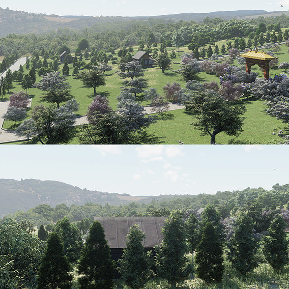 Lumion ArchViz Project - Buddhist Spa and Retreat Center - Part2 Park