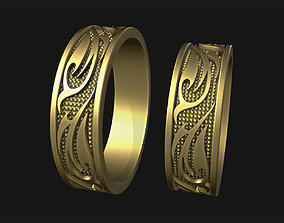 3D printable model Wedding Rings with flame ornament