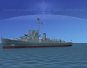 3D Destroyer Escort DE-696 USS Spangler