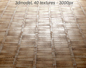 3D Vintage classic old tattered scratched parquet and