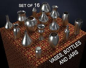 3D Vases bottles and jars 16 piece set