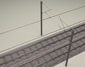 Train Track Double Electrified 3D
