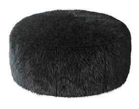 Aspyn Faux Fur Shag Ottoman 3D model